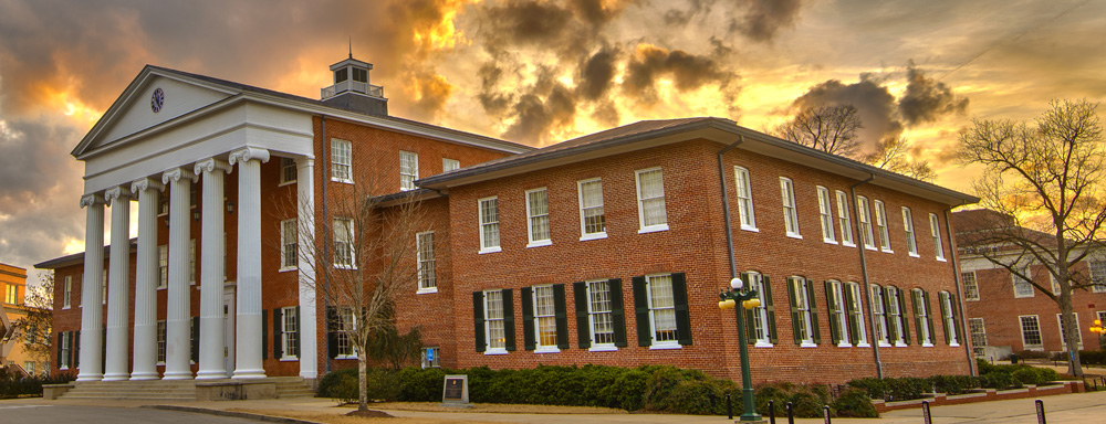 The University of Mississippi lyceum at sunset